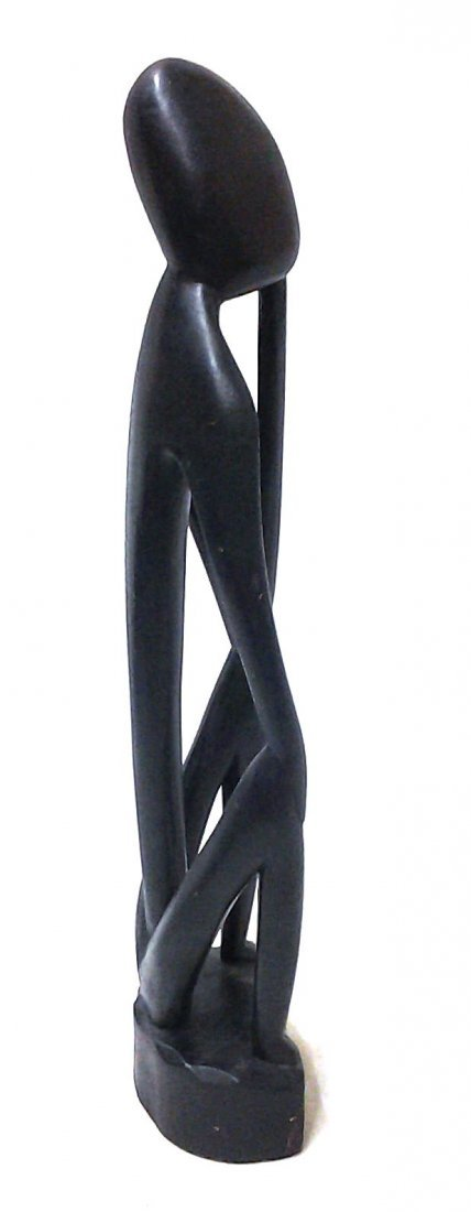 African Statue Man Thinking Hand Carved Made in Ghana - 3