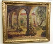 Antique Circa 1917 American Framed Watercolor on Canvas