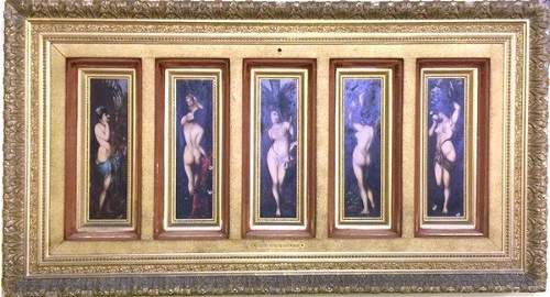 Rare Antique Erotic Framed Artwork Circa 1880: Hans