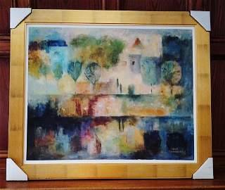 """Framed on Canvas by Lela Maharobeli, """"Water's Edge"""""""