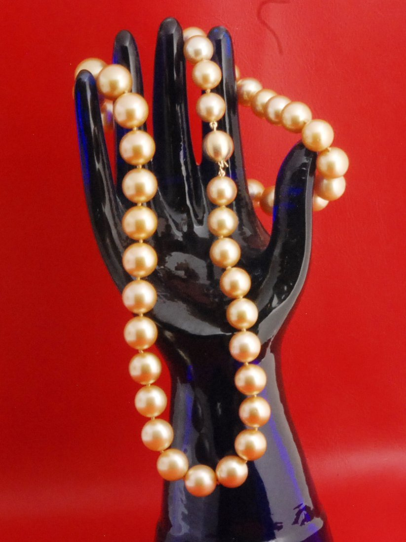 Golden Cultured South Sea Pearl Necklace Strand (GLA