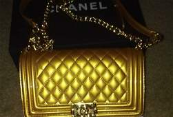 Authentic Chanel Boy Gold Handbag