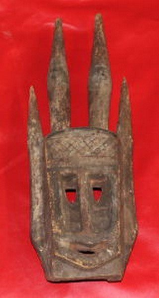 Antique African Tribal Mask w. Geometric Design & 4