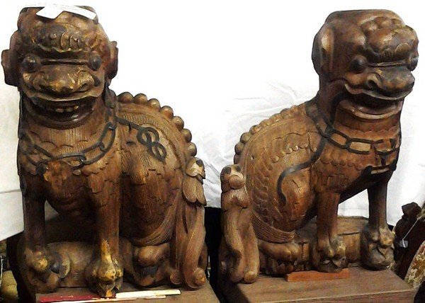 "Antique Circa 1750 Heavy Chinese Foo Dogs 22X20"" each"