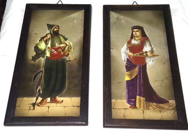 Antique Rare Indo-Persian  Framed Paintings Pair (Male