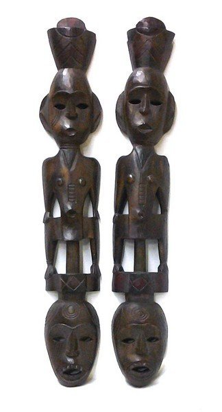 Antique African Bobo Guard Way Protectors: Carved Wood