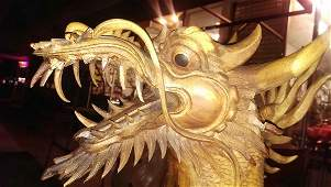 XLG Ancient Wooden Dragon Sculpture 16-17th C: Kinabalu