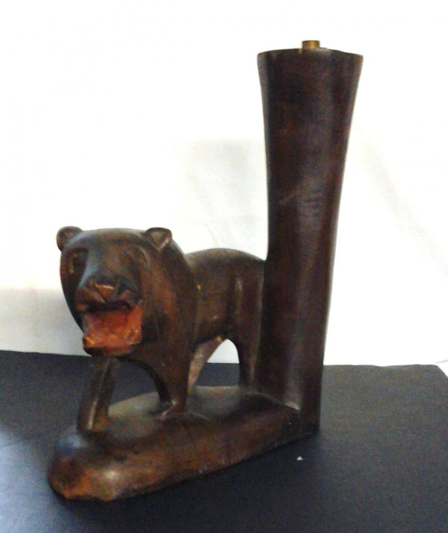 Antique African Tribal Lion Carving Converted to Lamp