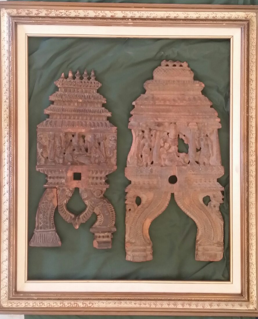 Ancient c1600 Rare Indian Erotic Carved Wood Temple