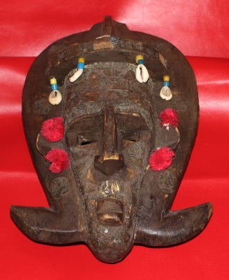 Ancient c1900 African Mask Bambara Decorated w. Cowrie