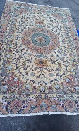 Vintage Persian Fine Tabriz Rug w. Silk Foundation,