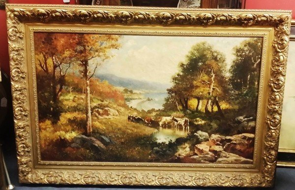 Antique c1923 Signed American Oil Painting Cows by the