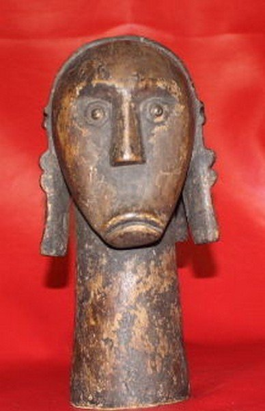 "Antique African Tribal Head Bust 12x6"", 3-lbs"
