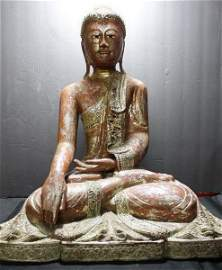 Ancient Indo-Chinese Poly-Chrome Buddha Scultpure