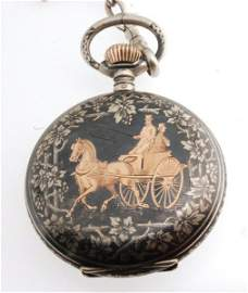 Antique c1880 Niello Pocket Watch in Silver & 18K Rose