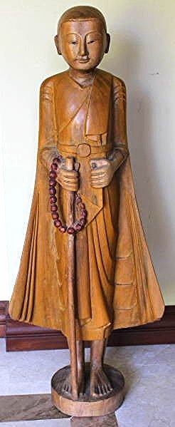 "Old Buddhist Monk Sculpture Carved of Wood 34"", 12-lbs"