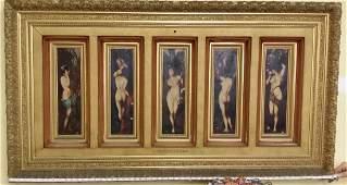 """Antique Rare Erotica c1880: Hans Makart, """"The Five"""