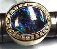 Men's 14K Gold Australian Black Opal & Diamond Ring