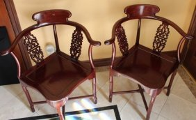 Lacquered Rosewood Chinese Horseshoe Corner Chairs