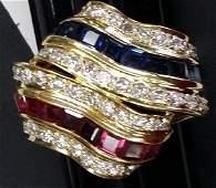 Fine 18K Gold Ruby, Blue Sapphire & Genuine Diamond