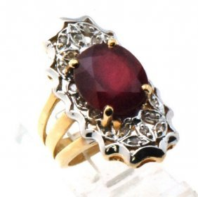 Certified Estate 14k Gold Ruby & Genuine Diamond Ring