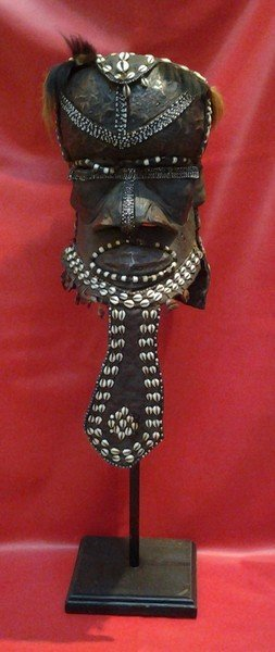 "African Kuba Tribe Mask, 26x13"", 7-lbs Ngady (part Of A"