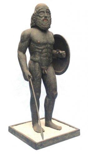 Authentic Greek Warrior Ceramic Sculpture Figurine By