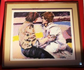"""Aldo Luongo Signed & Framed Lithograph """"lovers"""""""