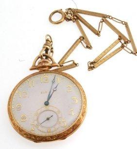 Antique 14k Solid Gold Elgin Open-faced Pocket Watch