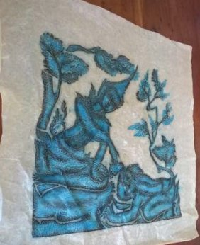 2 Old Art Works Of Thailand On Cloth Temple Rubbings