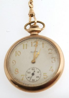 Antique Solid 14k Gold Open-faced Pocket Watch By Elgin