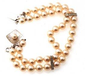 Certified Estate 14k Diamond & Majorca Culturd Pearl