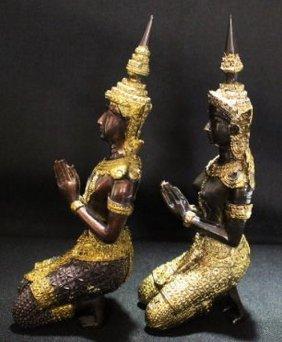 Ancient Gilted Bronze Thep-panom Buddha Gods Thai