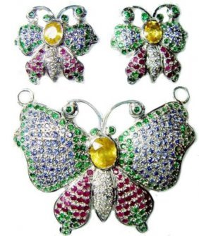 Exotic Precious Butterfly Gemstone Pendant & Earring