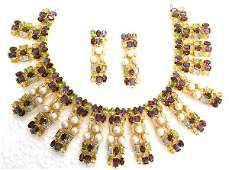 Exotic Gemstone & Pearl Necklace & Earring Jewelry