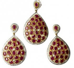 Exotic Ruby & French Crystal Pendant & Earring Set