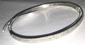Certified Solid 14k White Gold Bangle Bracelet W.