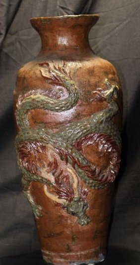 "Korean Celadon Vase 18th C Yi Dynasty 15"" Glazed W."