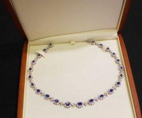 18k Gold Ceylon Blue Sapphire & Diamond Necklace Suite