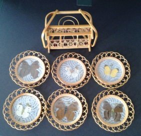 Antique Chinese C1890 Bambo Drink Coaster Set With Real