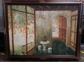 """Vintage Oil On Canvas Signed & Framed 56x44"""" (bird"""