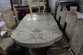 Exquisite Fine French Dining Room Set W. 8 Chairs
