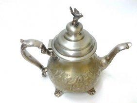 Antique Circa 1850 Indo-persian Silver Teapot W/ Flower