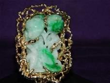 Heavy 52gr Solid 14K Gold Apple Green Jade Ring