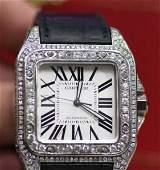 Cartier Santos 100 XL w. Diamond Case