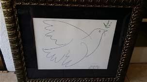 Pencil Signed Picasso Peace Dove