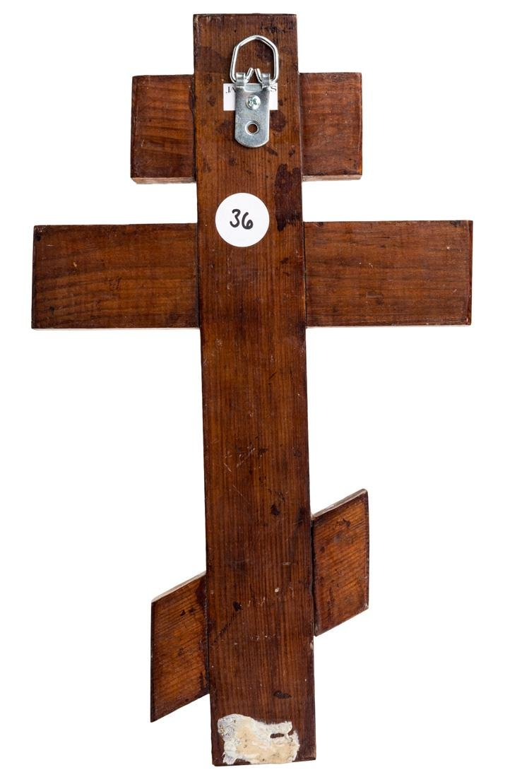 A RUSSIAN SHAPED ICON OF THE CRUCIFIXION, 19TH CENTURY - 2