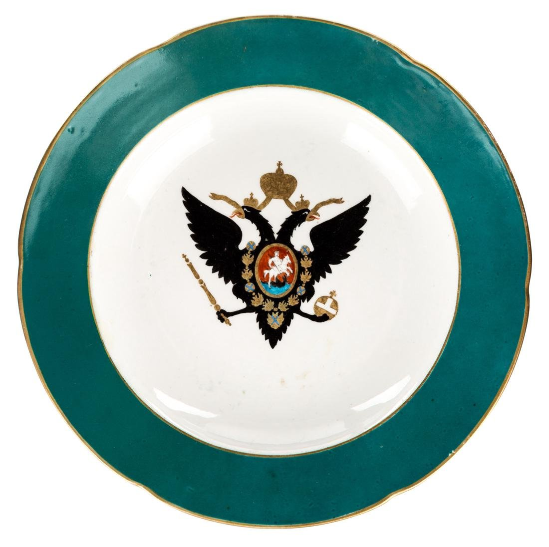 A RUSSIAN IMPERIAL PORCELAIN PLATE, RUSSIAN IMPERIAL