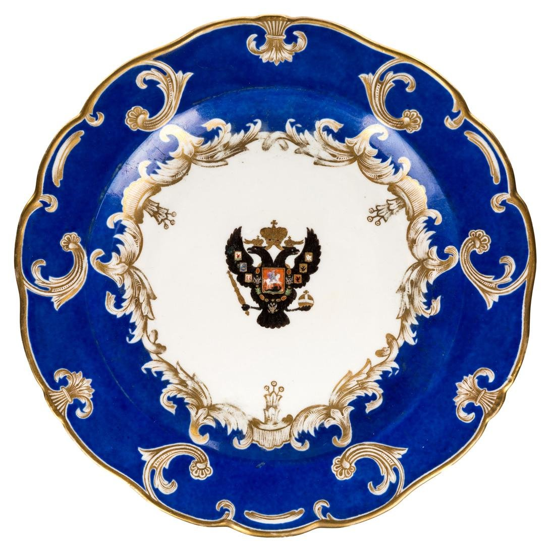 A RUSSIAN IMPERIAL PORCELAIN PLATE, IMPERIAL PORCELAIN