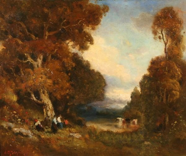 13: PODCHERNIKOFF California Russian Oil Painting Pond